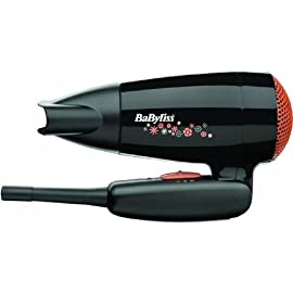 folding handle - 41meDRg70iL - Babyliss Travel Hair Dryer. 2000 watts folding handle hairdryer. Black. With Travel pouch.