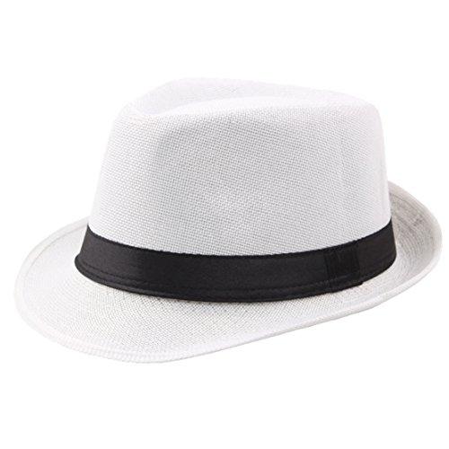 Coucoland Panama Hut Mafia Gangster Herren Fedora Trilby Bogart Hut Herren 1920s Gatsby Kostüm Accessoires (Weiß) (Mafia Kostüm Für Herren)