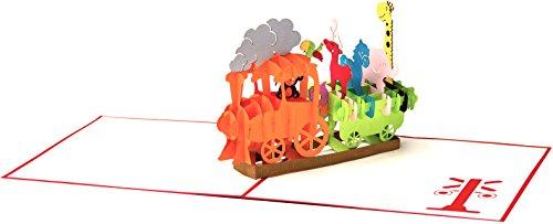 3D Geburtstagskarte Happy Birthday Bähnchen mit Tieren 3D Pop up, handgefertigt, Grußkarte, Glückwunsch Karte, Grußkarten, Dampflok mit Eisenbahn,