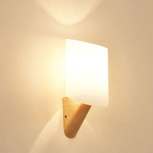 WYQLZ Moderne Minimaliste Chambre Chevet Applique Créative Étude Corridor Allée En Bois Massif Décoration Nuit Lumière