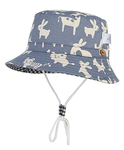 DEMU Baby Kleinkinder Fischerhut Strandhut Sommerhut Sonnenschutz Kappe Mütze (Tier, Hut Umfang 50cm)