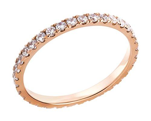 Ardeo Aurum Damenring aus 375 Gold Rosegold mit Zirkonia im Brillant-Schliff Memory-Ring Eternity Vorsteckring (Ringe Schmuck Gold 14k)