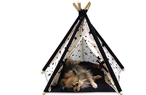 Lily&her friends Hunde- und Katzenbett aus Holz und Baumwollleinen, waschbar, tragbares Hundezelt mit indischem Design, Baumwoll-Canvas, 5 Winkel und 5 Seiten