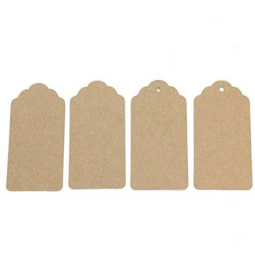 Dosige 100pcs Etiquetas para Regalo, Papel kraft para regalos, Para artesanías, Como etiquetas de precios, Rectangular-Retro