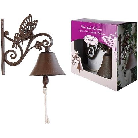 Esschert Design BA01 - Campana de hierro fundido con diseño de mariposa