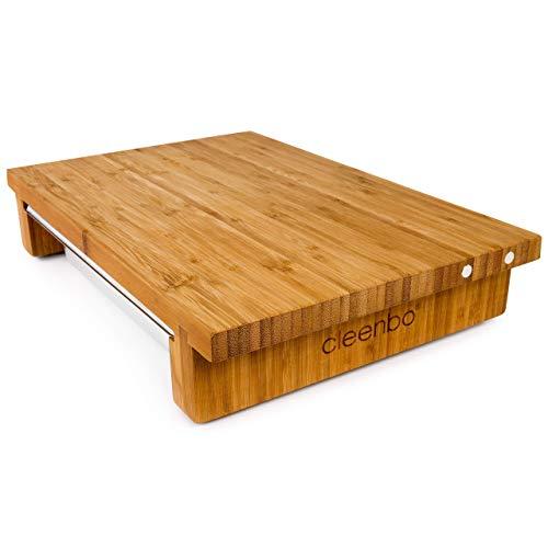 cleenbo Schneidebrett Classic Bamboo GN mit magnetischer Messerhalterung, Profi Holz Küchenbrett aus geöltem Bambus, großes Schneidbrett mit Edelstahl Auffangschale, Maße: 43 x 29 x 7,5 cm