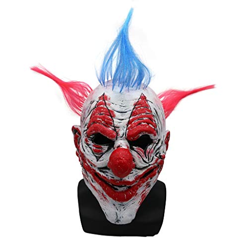 GXDHOME Latex Gesicht Kopf Maske, Clown Halloween Kostüm Scary Horror Gruselig Lustige Erwachsene Kinder Party Cosplay Karneval Kostüm