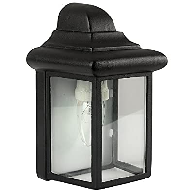 Traditional Black Aluminium Wenlock IP23 Outdoor Garden 3 Sided Coach Wall Lantern Light - Complete with 6w LED GLS Bulb 6500K [Cool White] - cheap UK wall light store.