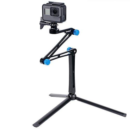 Smatree X1S Bastone Selfie Monopiede Telescopico Allungabile con Robusto Treppiede per GoPro Hero 2018, Hero 7/6/5/4/3/2/1/Fusion/Session, per Ricoh Theta S, Fotocamere Compatte e Smartphone