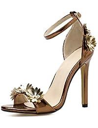5b904ad9d0 MagicXle Sandalias Mujer Zapatos tacón Alto Bronce Flores Sexy Zapatos tacón  Fino Romanos ...