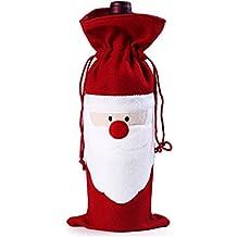 Jentay Bolsa Funda de la Botella de Vino decoración casa Fiesta Santa Claus Ropa Gorro de