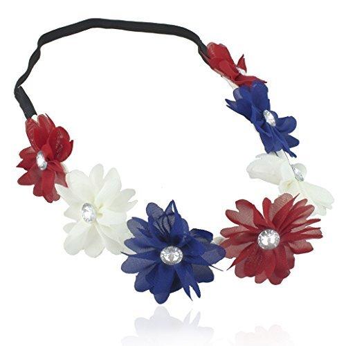 ed Kingdom Frankreich rot weiß blau amerikanische Flagge 4. Juli Independence Blumen Stretch Kristall Haarband Head Band (Kleinkind-partei-bevorzugungen)