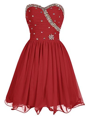 Dresstells, Robe courte de demoiselle d'honneur Robe de soirée de cocktail Robe de bal mousseline avec paillettes Rouge