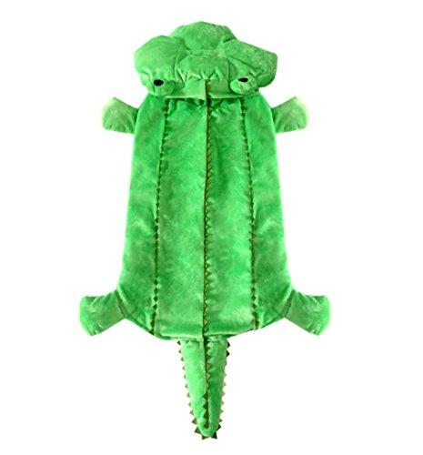 smalllee_lucky_store Medium Hund Winter Krokodil Mantel mit Kapuze Kostüm für weiblich/männlich, grün, 3X Große (3 Ideen Halloween-kostüm)