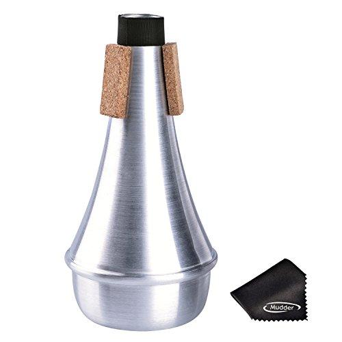 Training Trompete Straight Stummschall Dämpfer Aluminium mit Reinigungstuch, Silber (Aluminium-dampfer)