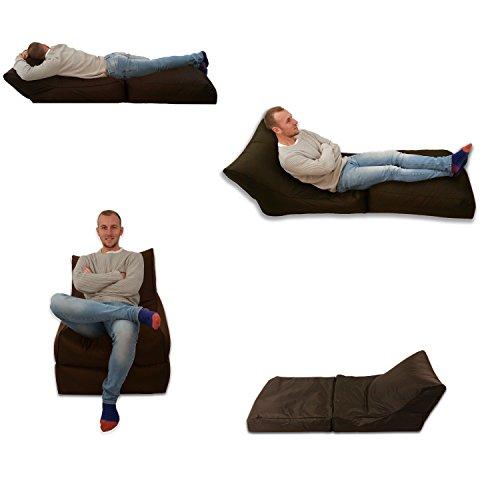 Puf cama y silla marrón para uso en exterior e interior, tamaño extr