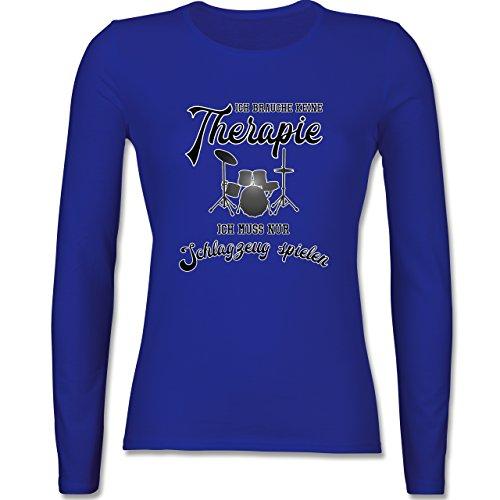 Instrumente - Ich brauche keine Therapie ich muss nur Schlagzeug spielen - tailliertes Longsleeve / langärmeliges T-Shirt für Damen Royalblau