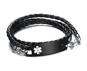 vnox mens personalised stainless steel braided leather