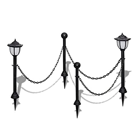 vidaXL Chain Fence with Solar Lights Two LED Lamps Poles