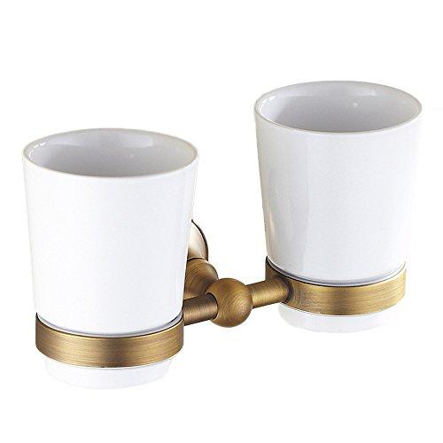 Xzi Brosse à Dents Titulaire de la Cupule Doubles Titulaire de la Tasse Blanc Double Tasse européenne Style rétro 20,5 * 11cm A+