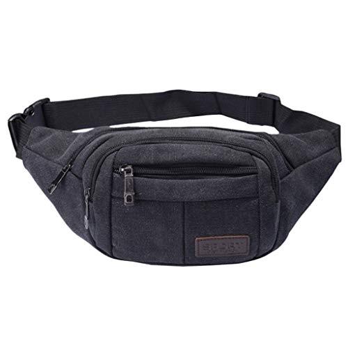 Herren Waist Bag Damen Bum Bag Canvas Umhängetasche Retro Wüstenfarbe Zip Suitable for Travel Hiking Handy Outdoor Activities Sports Pockets Springer Shoulder Bag Unsex ()