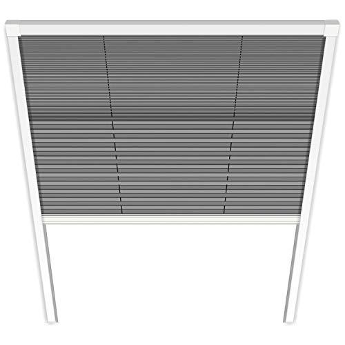 1PLUS Fliegengitter Plissee für Dachfenster Insektenschutz Dachfensterplissee in weiß in verschiedenen Größen und Varianten (114 cm breit, UNO-Plissee)