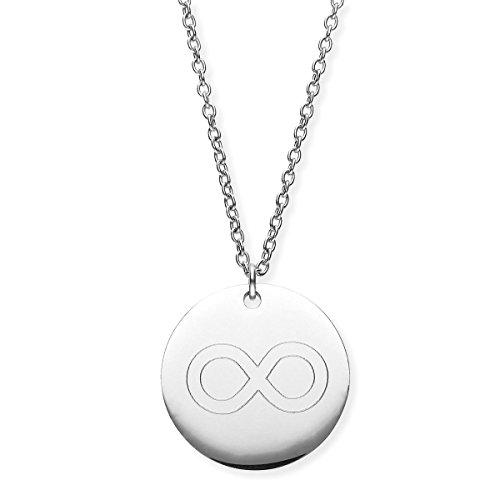 URBANHELDEN - Damen-Kette mit Rundem Motiv Anhänger - Hals Kette Amulett - Edelstahl - Gravur Endless Silber