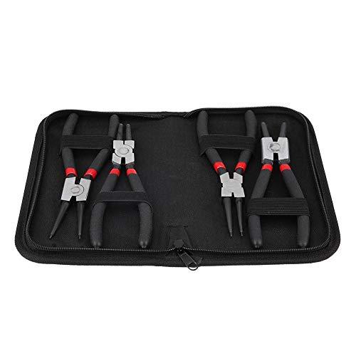 Preisvergleich Produktbild Sprengringzangen Set 4 teilig Sicherungsringzangen 180mm Sicherungsringzangen Werkzeug in hochwertiger Aufbewahrungssetui