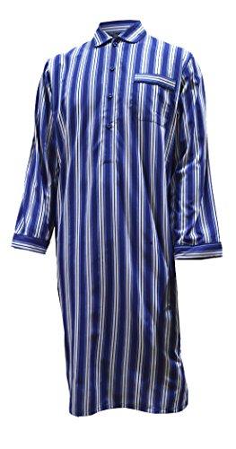 Gestreiftes Nachthemd aus reiner Baumwolle, Blau / Weiß, Herren Blau / Weiß
