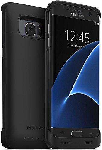 PowerBear Funda de Batería Compatible para Samsung Galaxy S7 Edge [5,000 MAh] Cargador de Batería Externo de Alta Capacidad para el Galaxy S7 Edge - Negro [24 Meses de Garantía]