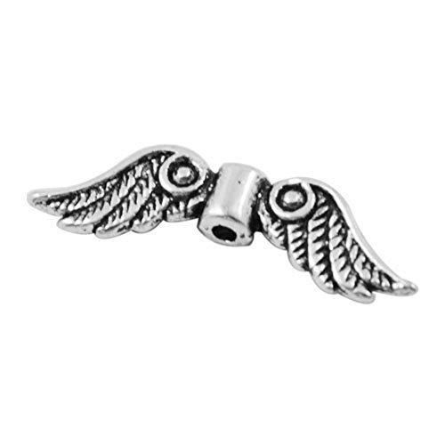 akoak 50PCS Tibet Silber Engel Flügel 1,5mm Loch 23x 6Charm Spacer Perlen