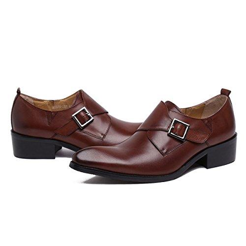 GRRONG Chaussures En Cuir Pour Homme En Cuir De Vache D'affaires Pointu Tenue brown