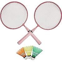 LIVO Kids Badminton Racket Set of 2 Racket 3 Plastic Shuttle (Random Colour as per Availability Red, Pink or Blue)
