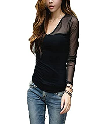 ZANZEA Femme Sexy Transparent Shirt Manche Longue Col V Top 32/34/36(US XS-S UK 6-8),Noir