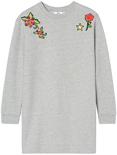 FIND Damen Oversized Pullover mit Aufnähern Grau (Grey Mix), 38 (Herstellergröße: Medium)