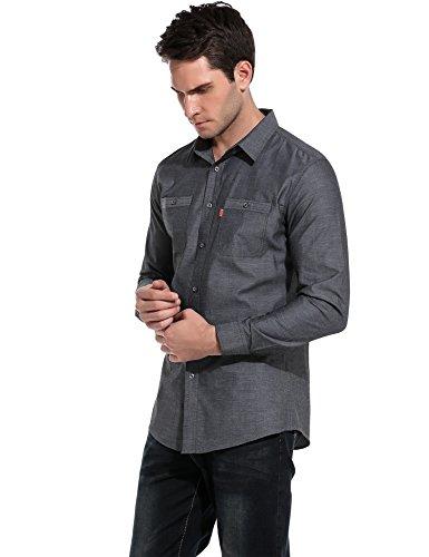 HOTOUCH Herren Hemd Einfarbig Langarmhemd Baumwolle Button Down Hemd Slim Fit Typ1-Kohle