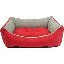 iOn Cama Cuna para Perro y Gato 65x50 Bicolor Rojo y Gris