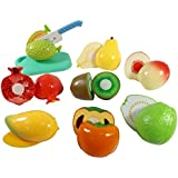 Bighub Sliceable 10 Pcs Fruits Cutting Play Toy Set, Can Be Cut In 2 Parts