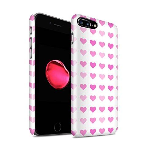 STUFF4 Glanz Snap-On Hülle / Case für Apple iPhone 8 Plus / Rot Muster / Herz Liebe Schablone Kollektion Rosa