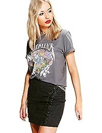 Holzkohle Damen Adriana Ausgewaschenes Metallica-band-t-shirt