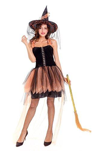 Honeystore Damen Kostüm mit Spitze Faschingkostüm Hexe Witch Karneval Halloweenkostüm Schwarz und Orange One Size