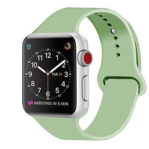 Zro cinturino for apple watch, morbido silicone braccialetto sportiva di ricambio per 38mm iwatch serie 3/ serie 2/ serie 1, taglia m/l, menta