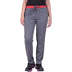 DFH Women's Regular Fit Track Pant (WPDG1, Dark Grey, Medium)