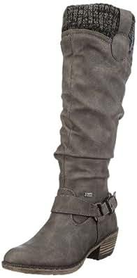 Rieker 93756 Damen Langschaft Cowboy Stiefel, grau (cenere/black-grey/42), 36 EU (3.5 Damen UK)