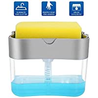 SKY-TOUCH Soap Pump Dispenser and Sponge Holder for Kitchen Sink Dish Washing Soap dispenser 13 ounces Silver