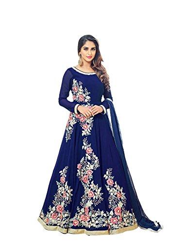 Vasu Saree Blue Semi Georgette Anarkali Suit