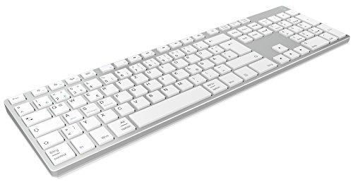 KeySonic Wireless Bluetooth Tastatur aus Aluminium für Mac, Windows, Android, iOS Tablet und PC, Akku, Multi-Channel, Silber/weiß