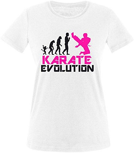 EZYshirt® Karate Evolution Damen Rundhals T-Shirt Weiss/Schwarz/Pink