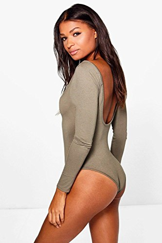 Femmes Khaki Leah Basic Long Sleeve V Neck Body Kaki
