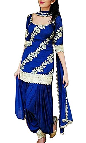 kamnath fashion Women's Cotton Embroidered Unstitched Patiala Salwar Suit Dress Material (Blue, Free Size)